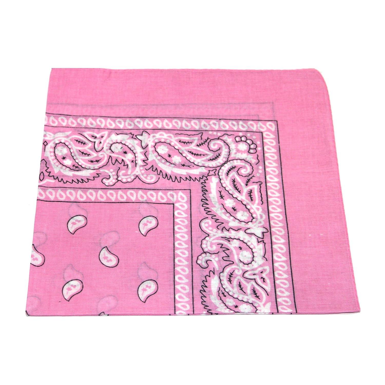 [UK SELLER] BANDANA HEAD SCARF SCARVES PAISLEY MANY COLOURS 100% COTTON (Pink)