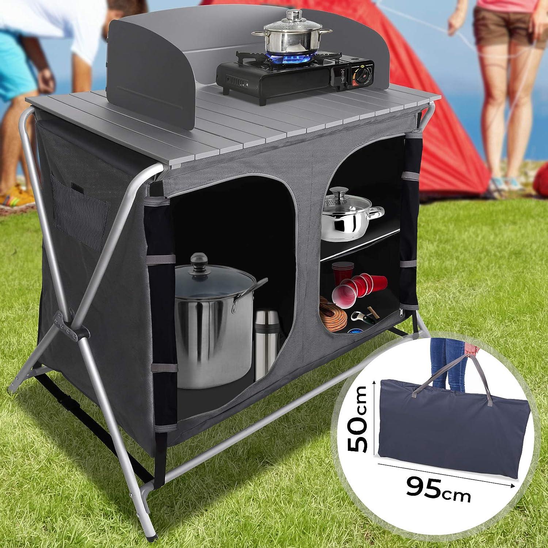 MIADOMODO Armario Cocina Camping Plegable - con 3 Compartimentos de Almacenaje, 86x50x110cm, con Paravientos, Aluminio, MDF - Mueble Cocina Camping, ...