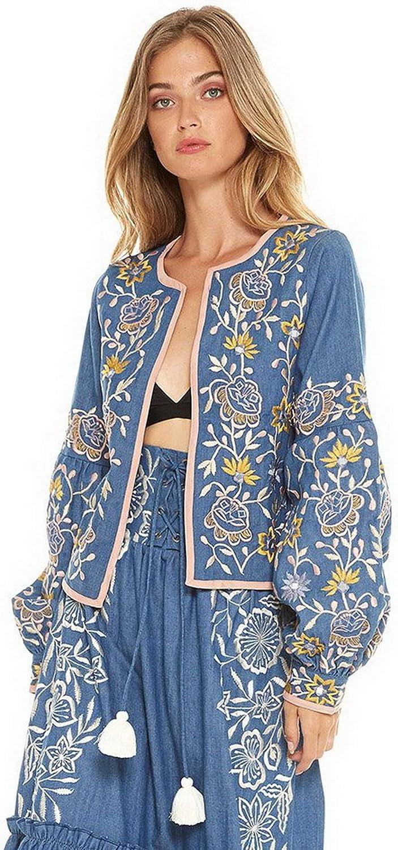 Misa Los Angeles Women's Zevon Embroidered Jacket in Denim Blue Sz S