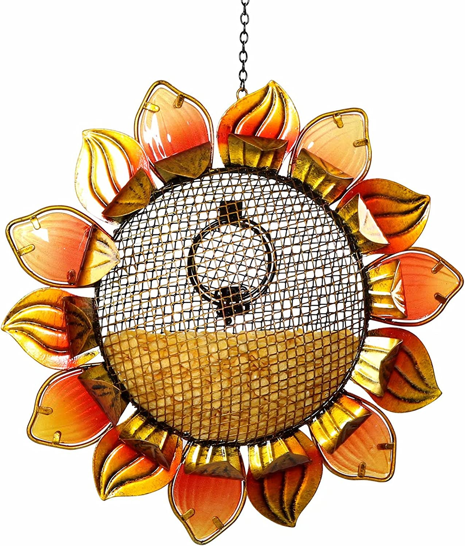 Wild Bird Feeder - Garlifden Sunflower Bird Feeder with Mesh, Iron and Glass Material, Hanging Metal Bird Feeder for Outside Flower Shaped Yard, Garden Decor (Yellow)