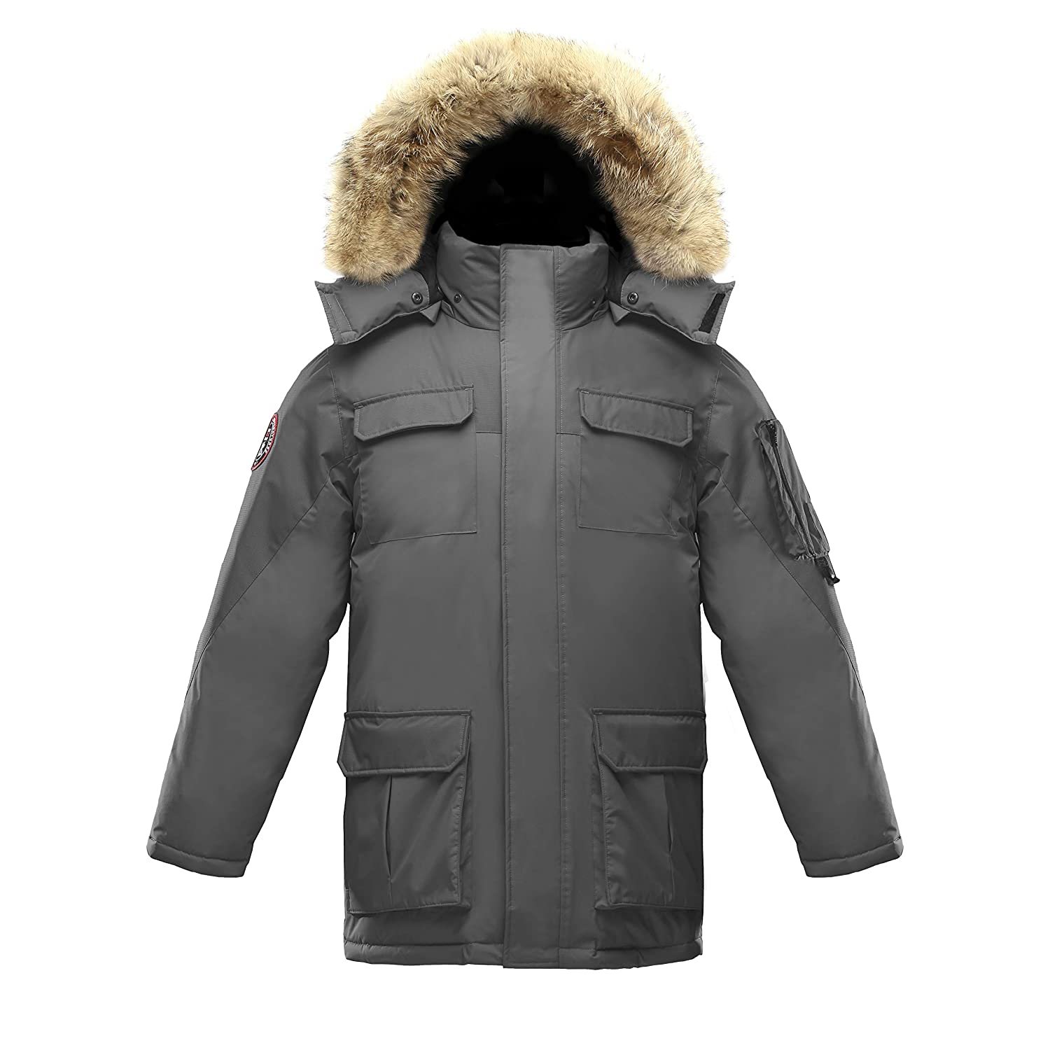 Triple F.A.T. Goose Chenega Mens Goose Down Jacket Parka with Real Coyote Fur at Amazon Men's Clothing store: