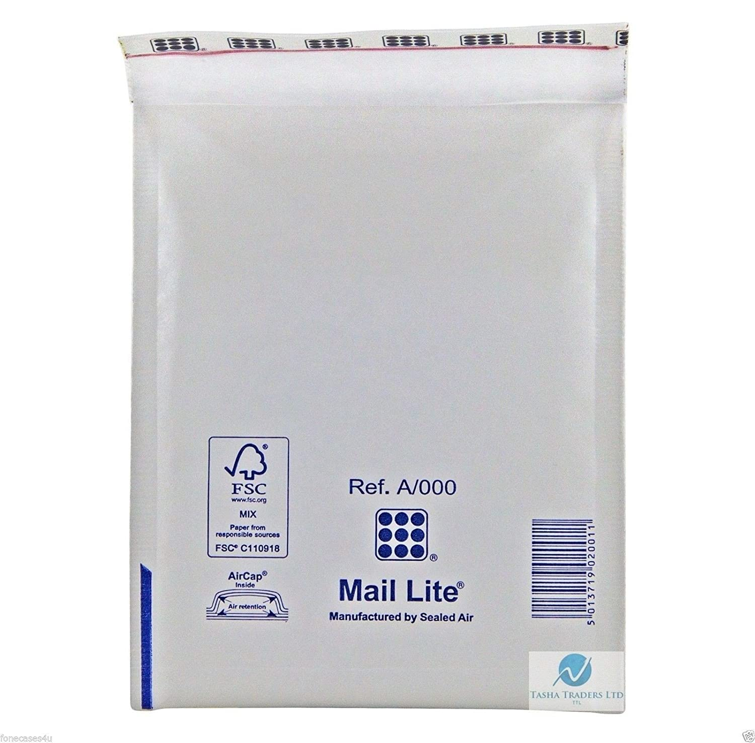 Mail Lite Size A/000 110 x 160 mm Padded Envelope - White (Pack of 100) Sealed Air