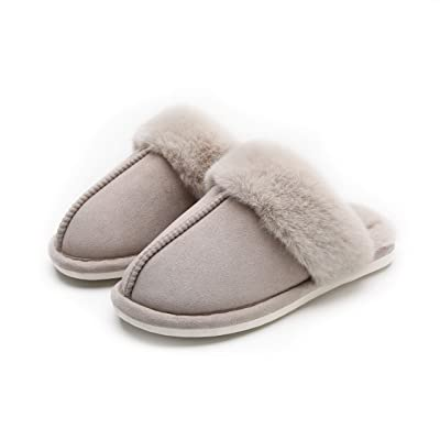 Haocent Women and Men's Slip on Faux Fur Warm House Slippers Winter Indoor Non-Slip Mules Fluffy Suede Slippers | Slippers