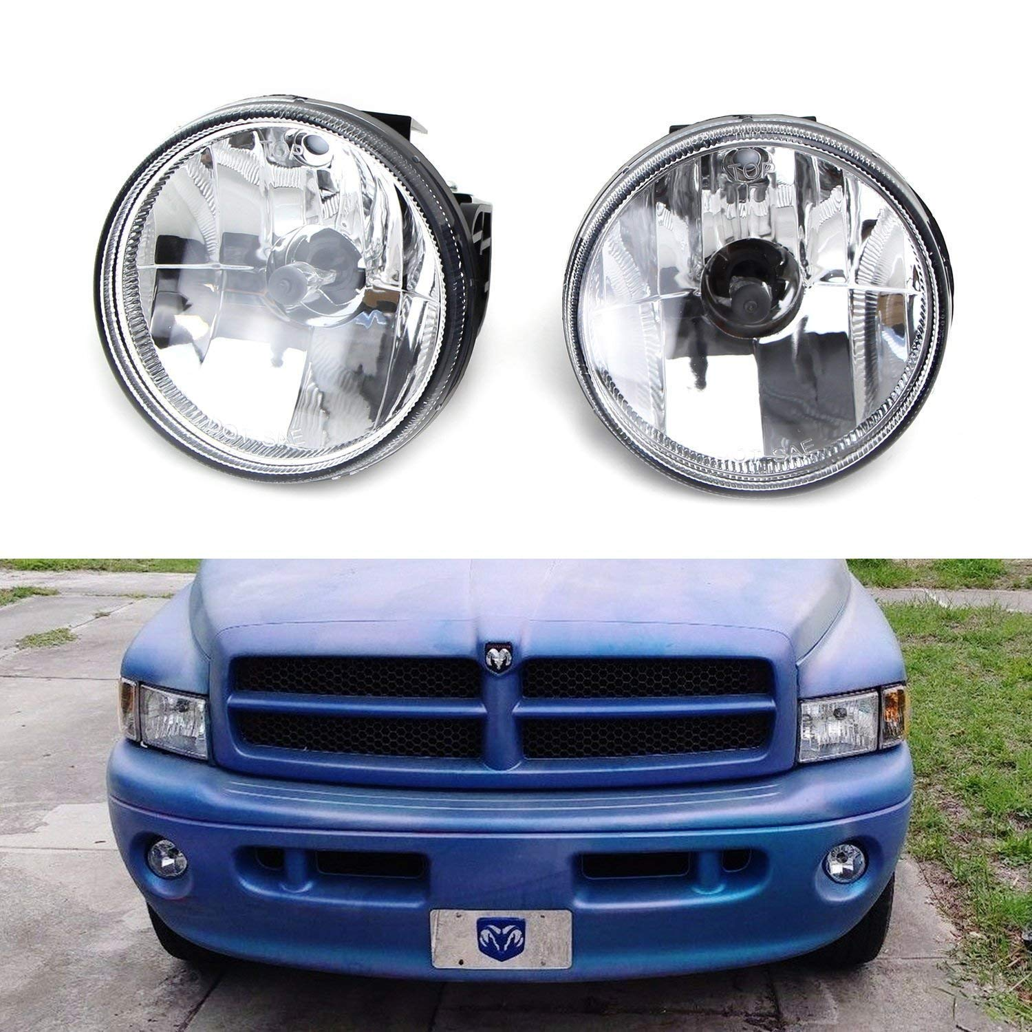 iJDMTOY Clear Lens Fog Lights Foglamp Kit with H3 Halogen Bulbs For 1999-2002 Dodge RAM 1500 2500 w/Sport Package Bumper ONLY iJDMTOY Auto Accessories Complete Left/Right Driver/Passenger Set