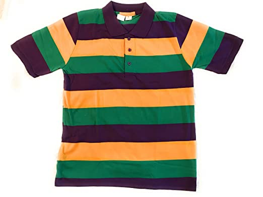 784ec4bd Mardi Gras Short Sleeve Striped Polo Shirt, Adult at Amazon Men's ...