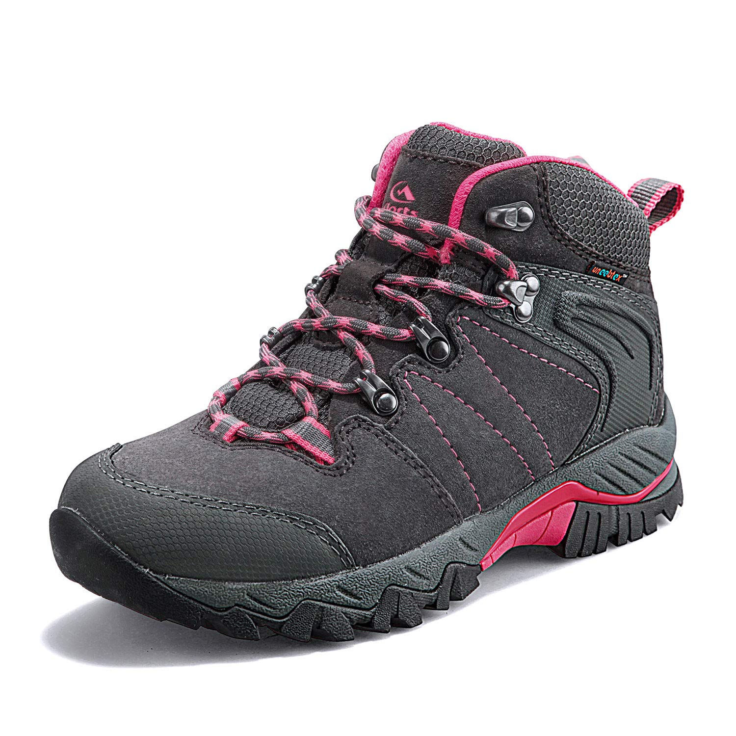 Clorts Women's Classic Hiking Boots Waterproof Suede Leather Lightweight Hiking Shoes Grey/Pink US Women Size 7.5 Medium Width