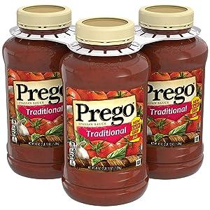 Prego Pasta Sauce, Traditional Italian Tomato Sauce, 45 Oz Jar, 3Count