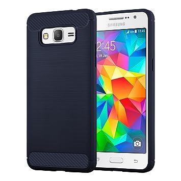 Cadorabo Carcasa Compatible con Samsung Galaxy Grand Prime móvil en Brushed Azul Funda Carcasa de TPU Silicona en Acero Inoxidable de Carbono Fibra ...