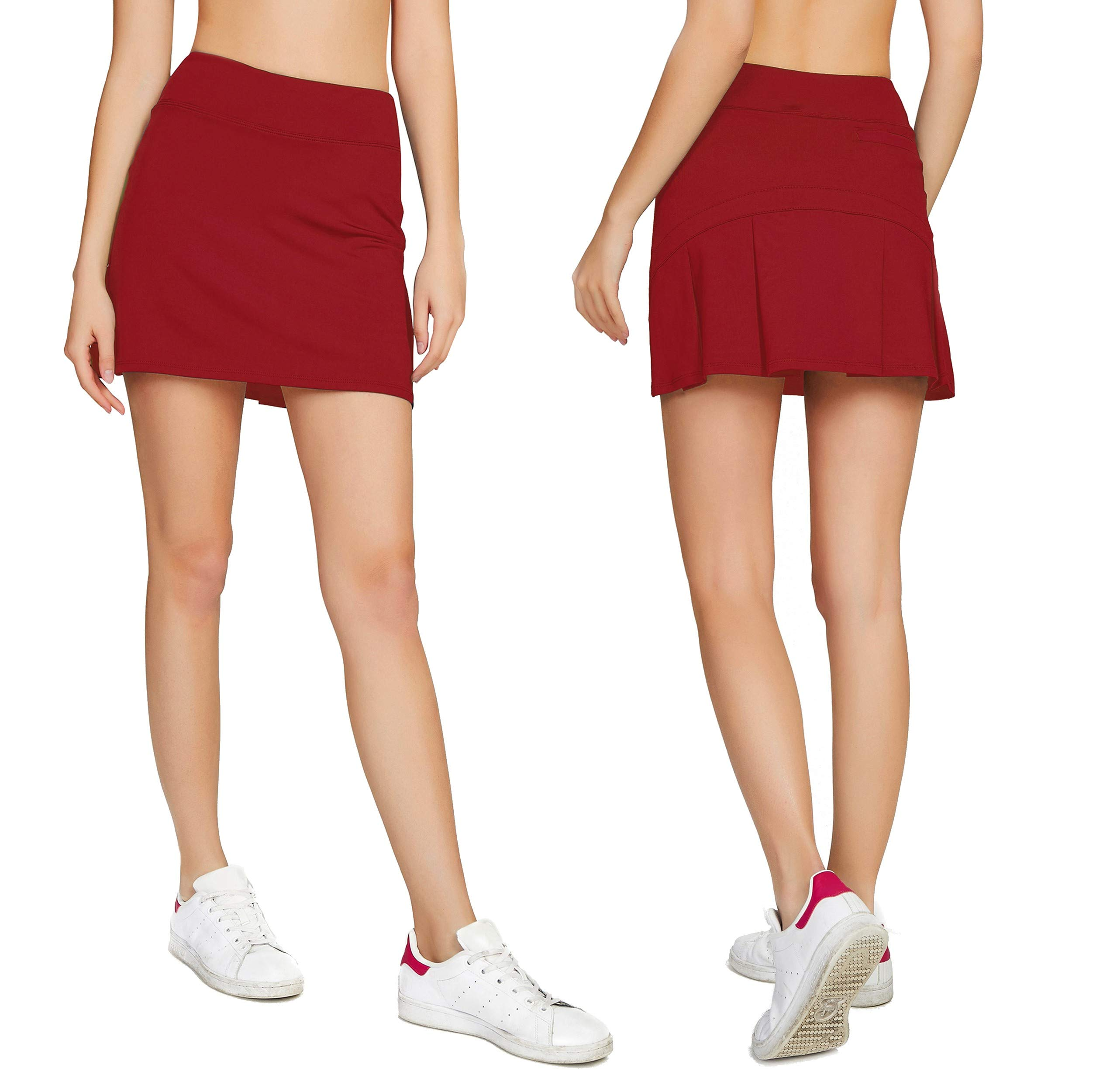 Cityoung Women's Casual Pleated Tennis Golf Skirt with Underneath Shorts Running Skorts rd xs