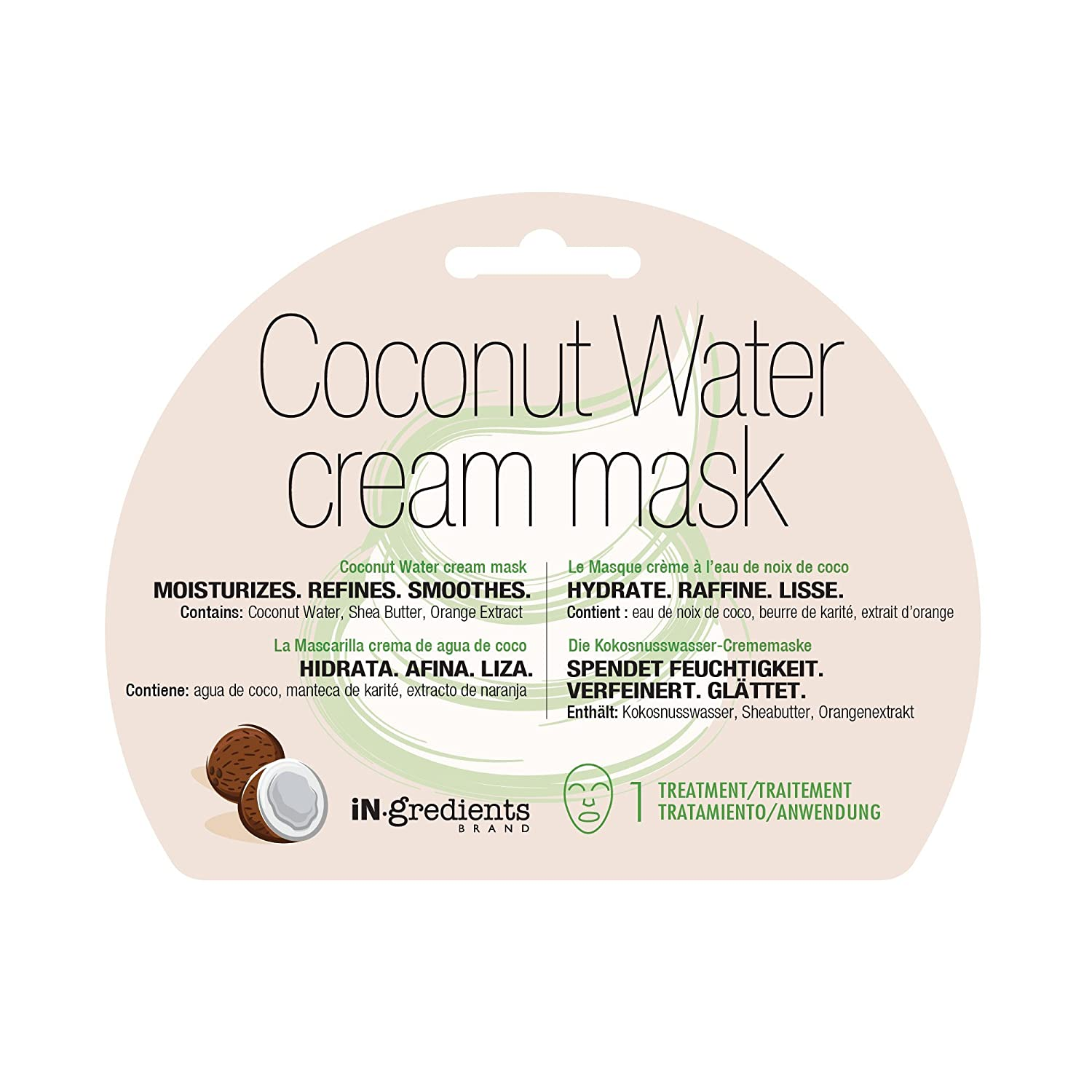 Amazon.com : iN.gredients Cream Mask, Coconut Water - Moisturizing, Cleansing, Exfoliating Pore Refiner for Dehydrated, Sensitive Skin - Made in Korea : ...