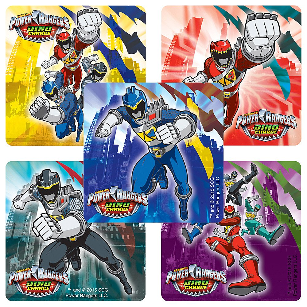 Smile Makers Power Rangers Dino Charge Stickers - Birthday and Theme Party Favors - 100 Per Pack