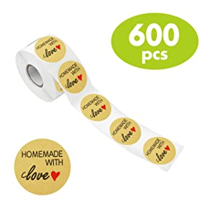 """600 PCS Natural Kraft Homemade with Love Stickers in Roll with Perforation Line for Personal and Business Use (Each Measures 1.5"""" in Diameter)"""