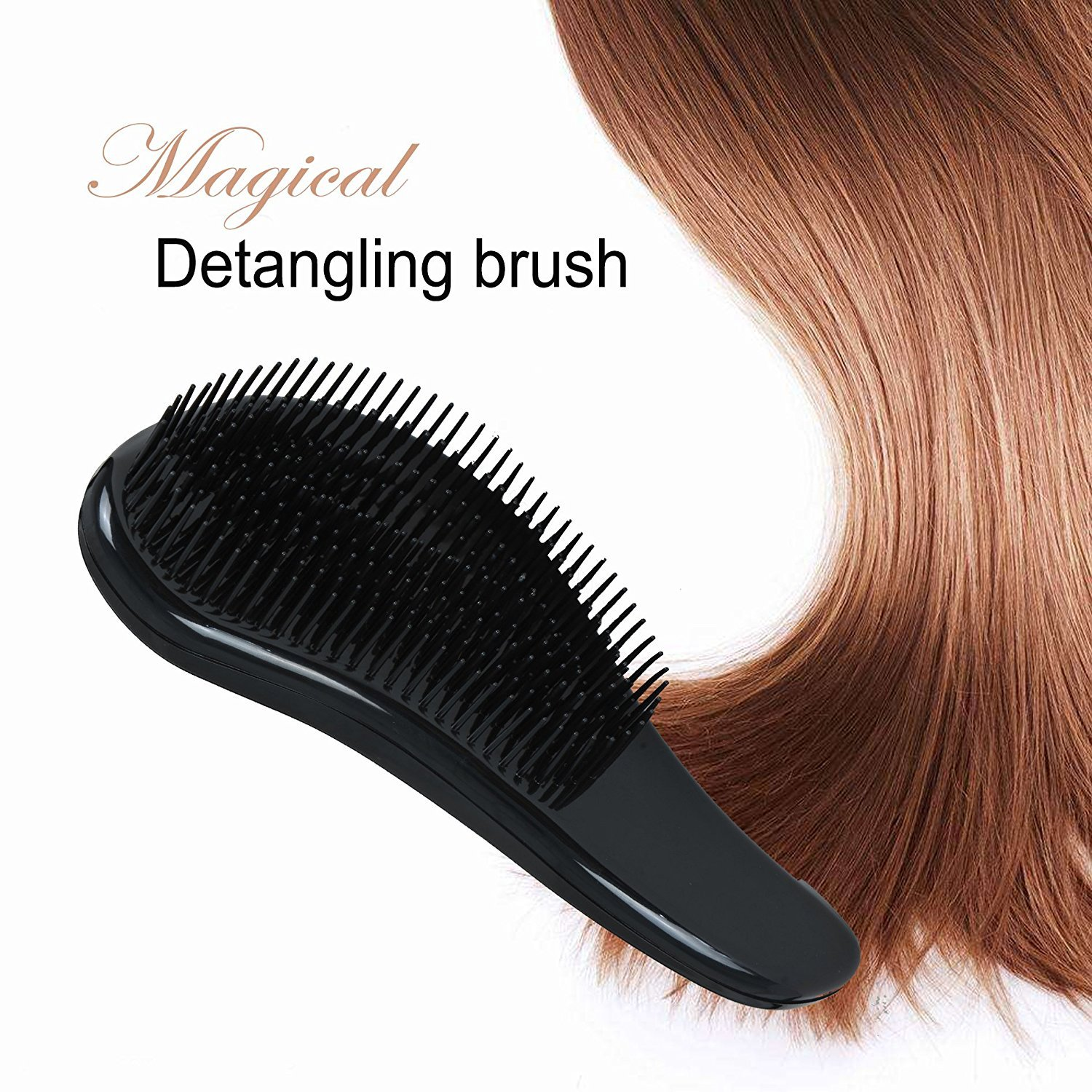 Angel-Flipped Detangling Brush, Glide the Detangler Through Tangled Hair Lightweight Attractive and Durable Comb or Brush, for Women, Girls, Men and Boys, Use in Dry and Wet Hair with Box(black)