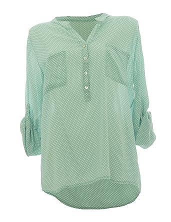 Moda Italy Damen Bluse Tunika Longbluse mit Punkten Rauten Flowers Lässige Bluse  Fischerhemd Polka Dots  Amazon.de  Bekleidung 75ae4a72f5