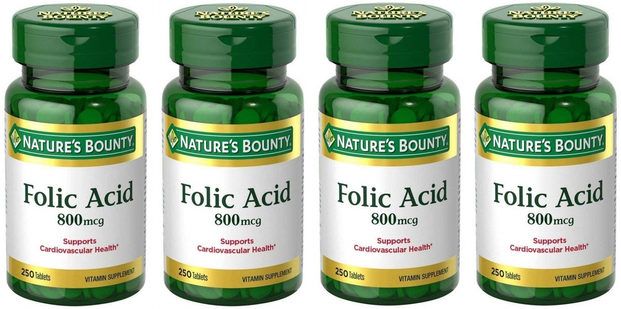 Folic Acid 800 mcg Tablets Maximum Strength, 4 Bottles (250 Count) by Nature's Bounty (Image #1)