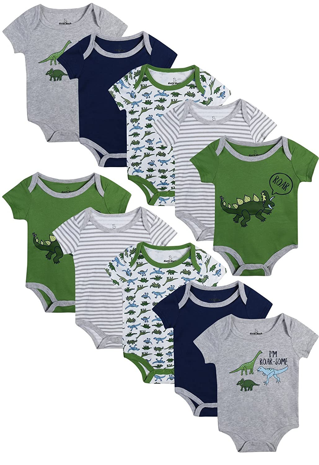 Duck Duck Goose Baby Boys And Girls Short Sleeve Bodysuits 10 Pack