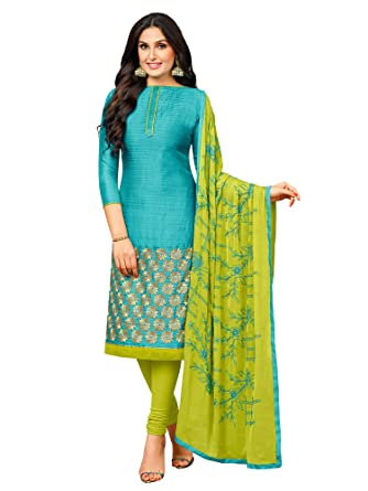 d49fd5f3d4 Image Unavailable. Image not available for. Colour: AKHILAM Women's  Banarasi Silk Unstitched Salwar Suit Material ...