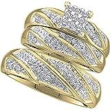 Dazzlingrock Collection 0.30 Carat (ctw) Round White Diamond Cluster Style Men & Women's Engagement Ring Trio Set 1/3 CT…