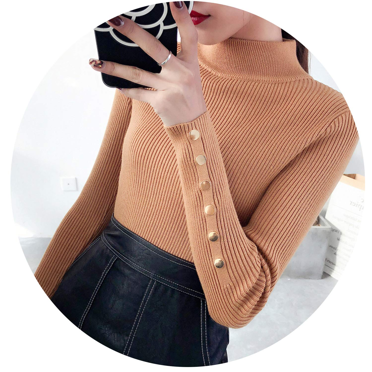 This is not a harm Sweater Woman Half of downneck Woman Thickening Winter Sweater Slim Elastic Knitted Sweaters,Khaki,S