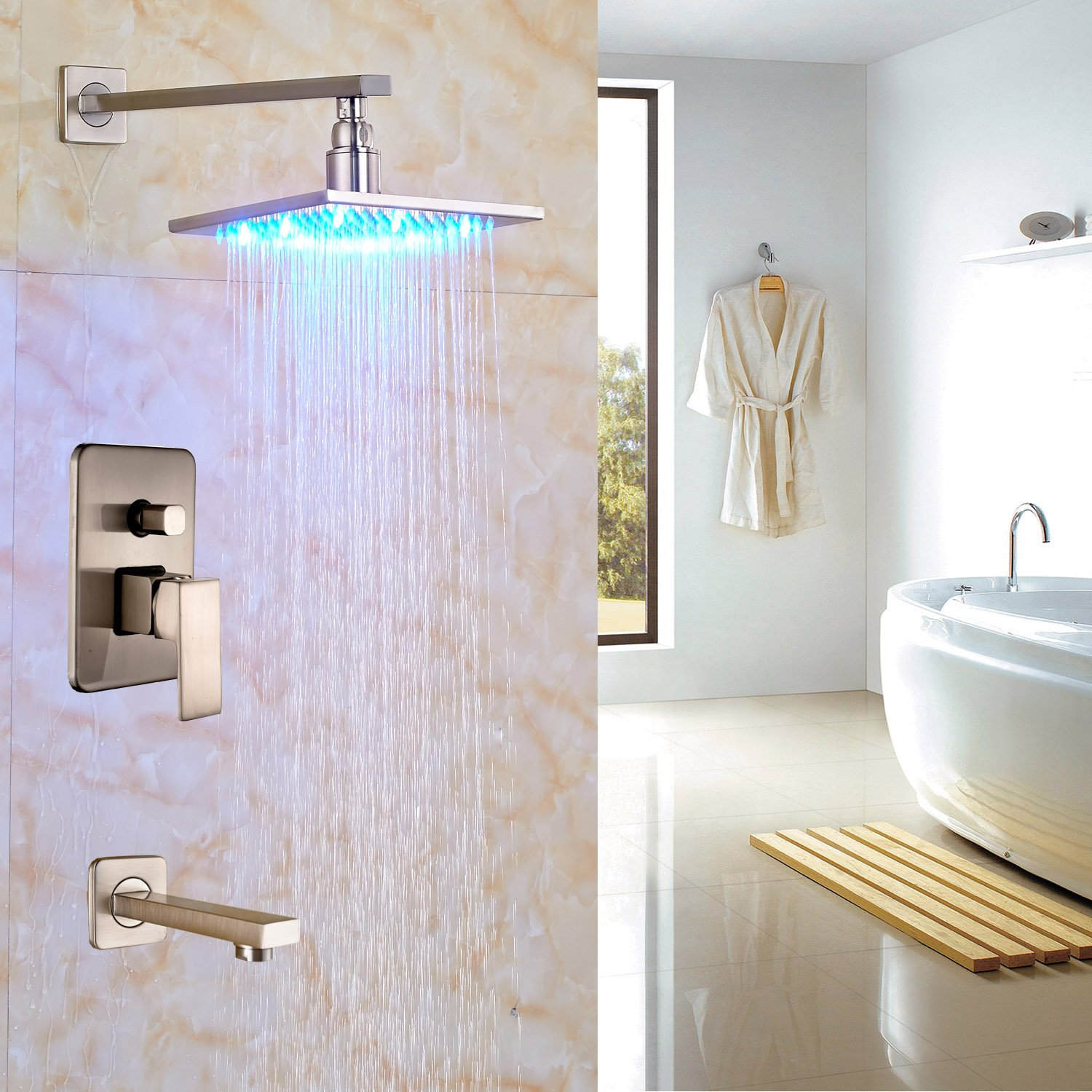Rozin Bath LED light 8'' Top Rainfall Shower Set with Tub Spout Tap Brushed Nickel