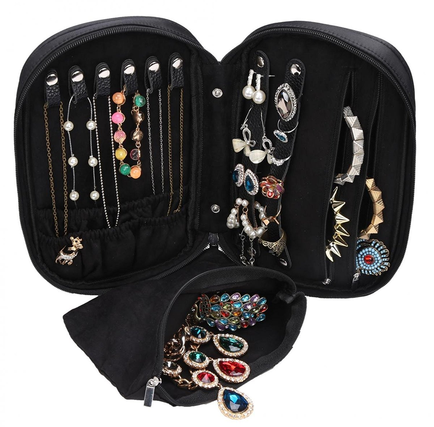 WODISON Zipper Carry-on Travel Jewelry Case Organizer with Removable Pouch Black MaxFly SYNCHKG099838