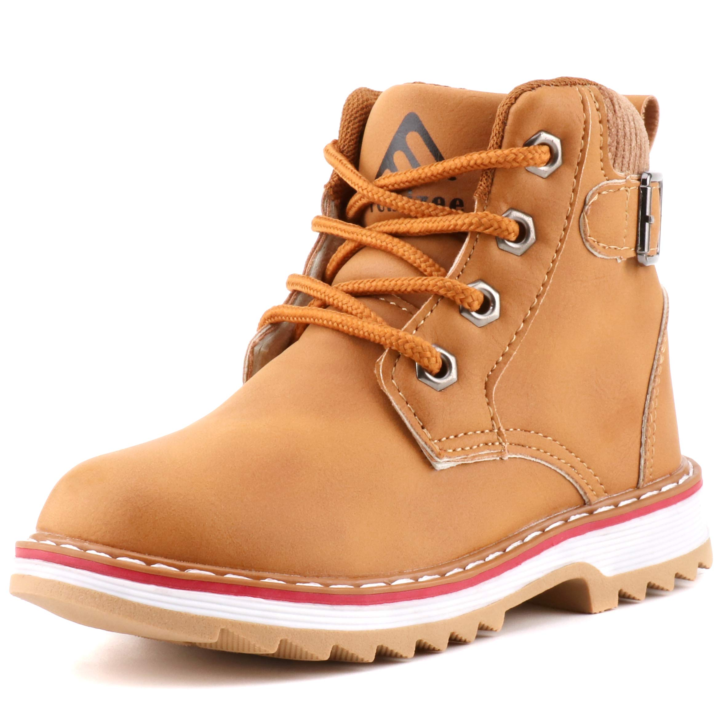Femizee Boys Lace Up Work Boots Classic Waterproof Outdoor Hiking Booties for Kids, Wheat, 1946 CN28