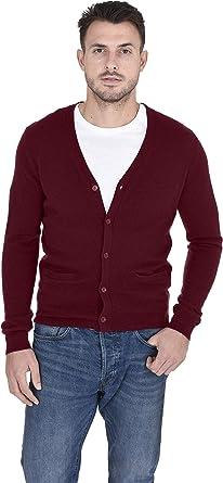 BYWX Men Slim Fit Basic Solid Long Sleeve V-Neck Front Button Cardigan