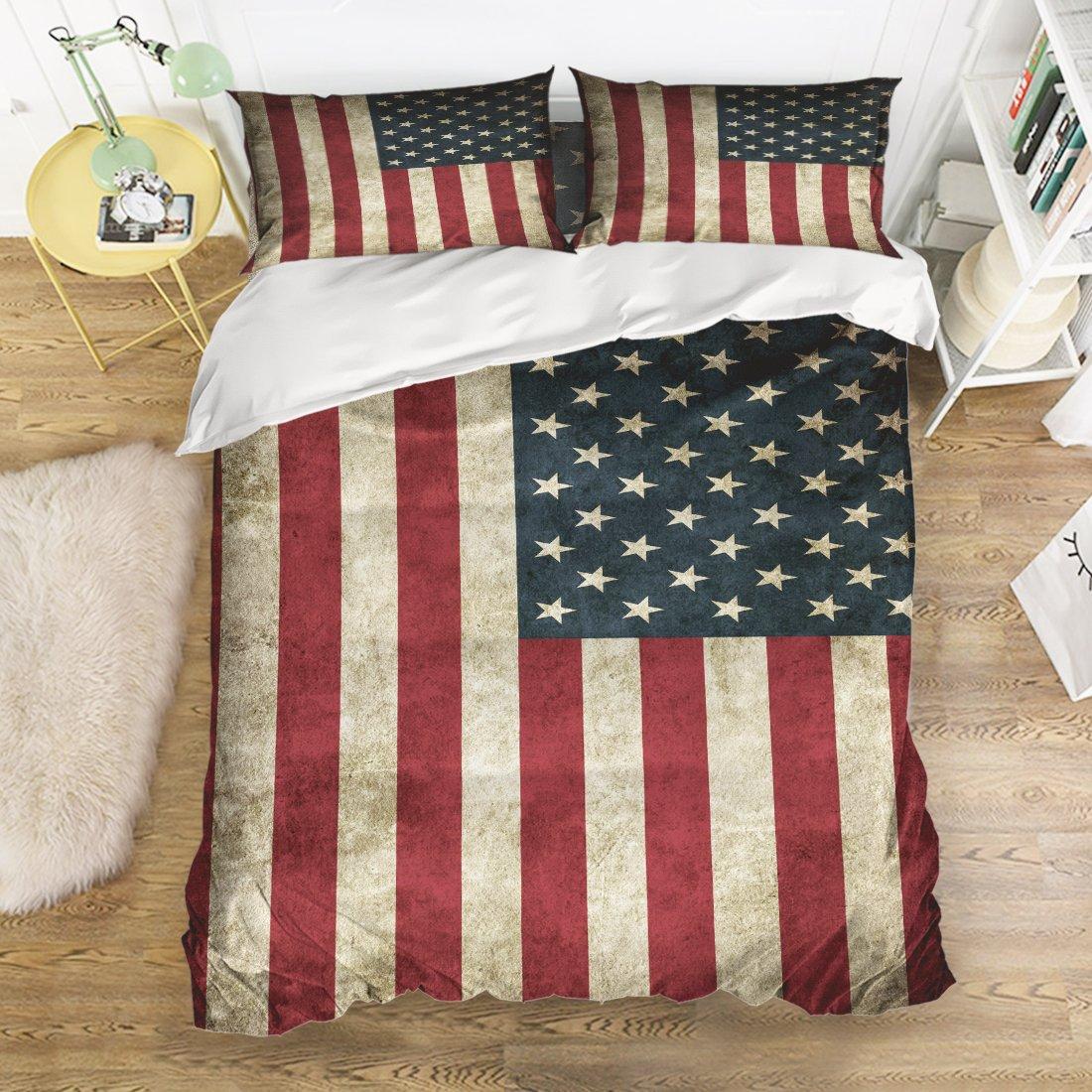 EZONヴィンテージアメリカ国旗4ピースベッドシートセット1ベッドシート1布団カバー枕カバー2枚 フル TK-LEOBON-0356 B07B9WXQC3   フル
