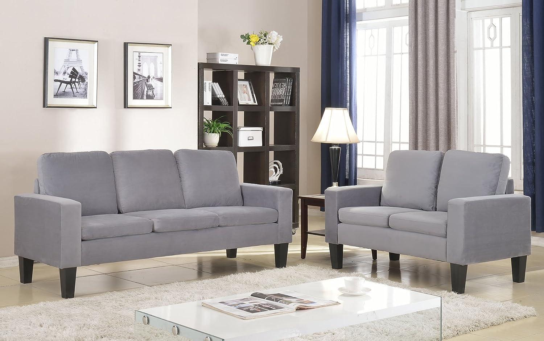 Amazon.com: NHI Express Sarah Microfiber Sofa Set Gray: Kitchen & Dining