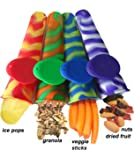 Slim Snack - Lunch Box Snack Bag and Silicone Ice Pop Mold All in One. 4 pack Tie Dye Stripes by GreenPaxx