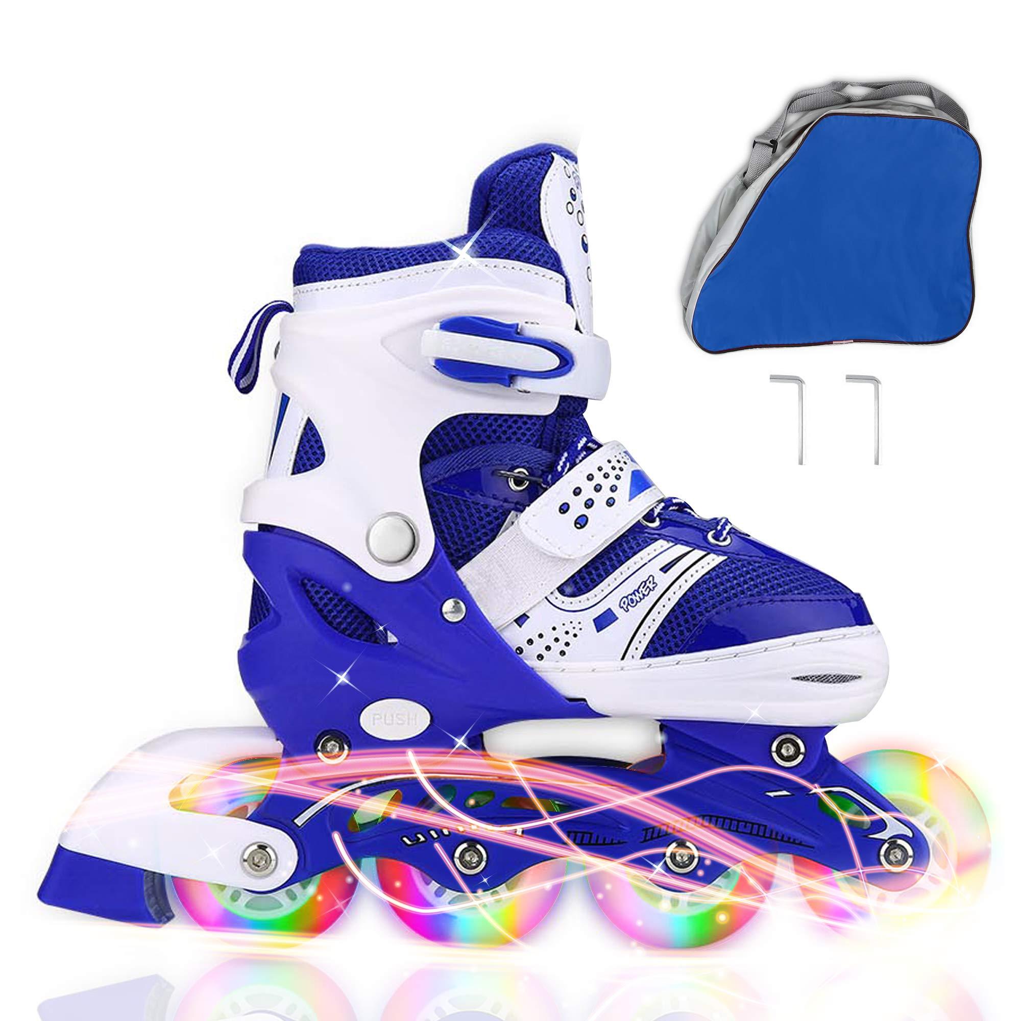 JIFAR Adjustable Inline Skates Kids, Roller Skates All Wheels Light Up Illuminating Rollerblades Girls Boy, Ladies,30-Day Guarantee!