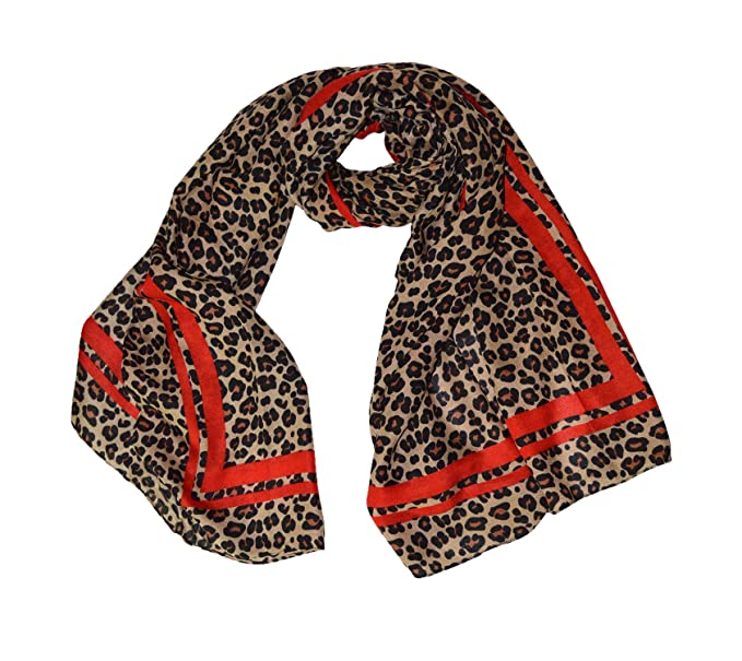 cc01f48a390e3 KGM Accessories Luxury Brown Leopard Red Border Print Scarf - Ladies ...