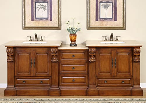 Silkroad Exclusive HYP-0907-T-UWC-95 Travertine Top Large Double Sink Bathroom Vanity