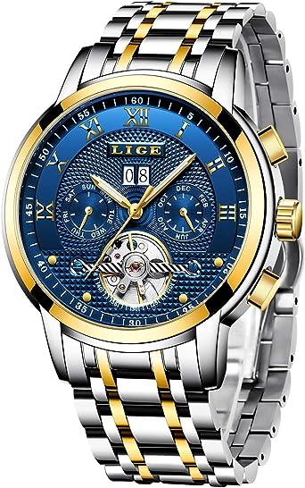LIGE Relojes Hombre Moda Acero Inoxidable Impermeables Mecánico Automático Reloj Hombre Lujoso Comercio Cronógrafo Calendario Militar Deportivo Luminoso Casual con Números Romanos Dial: Amazon.es: Relojes