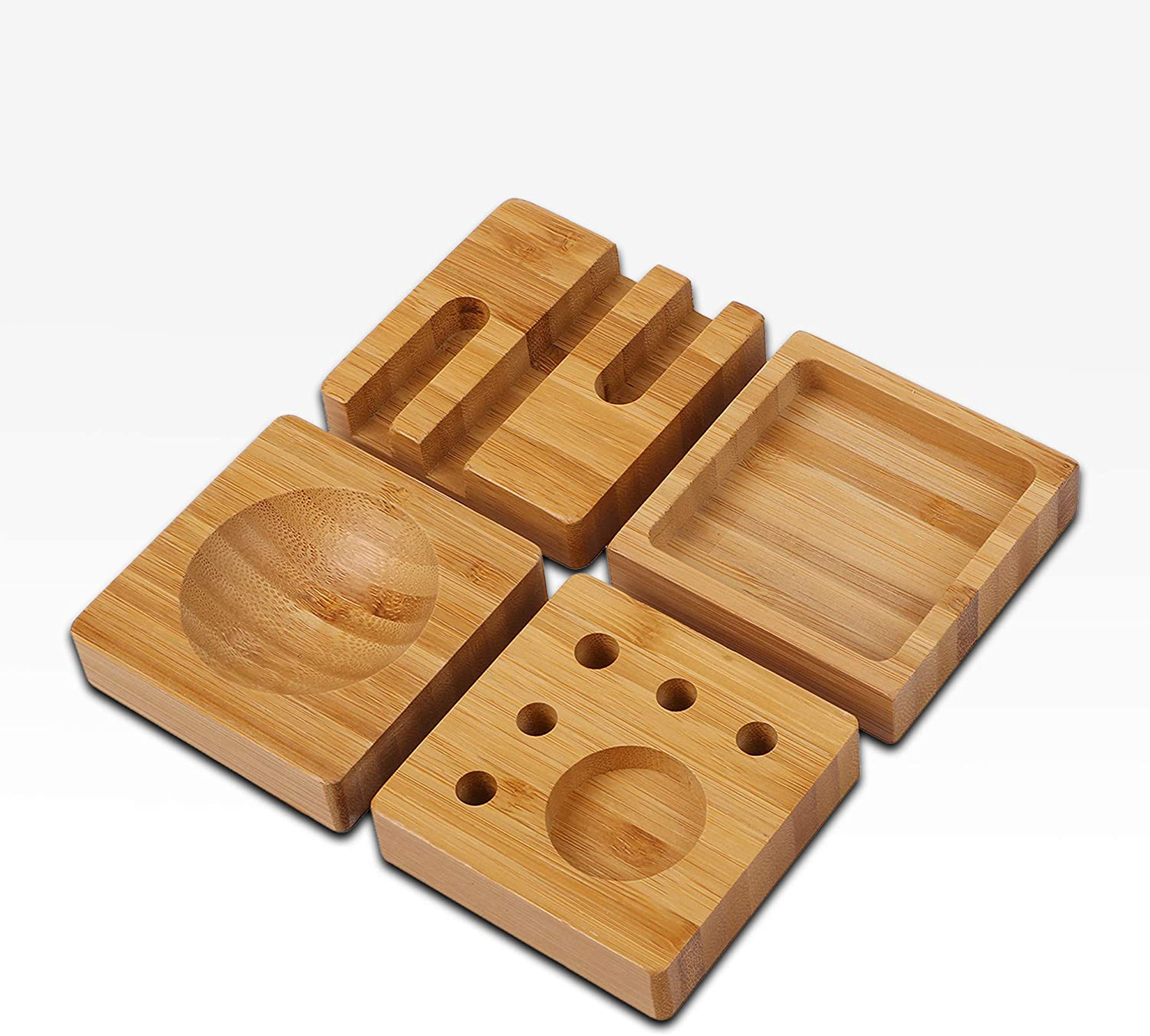 NEW 4-in-1 Bamboo Desk Organizer Blocks Set Pens and Paper Clips /| Unique and Fun Stationary Storage Solution for Kitchen 100/% Natural Wood Smartphone Stand Eco-friendly Home and Office