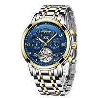 Herren Uhren Mode Automatische Mechanische wasserdichte Armbanduhr Männer Skeleton Tourbillon Edelstahl Uhr