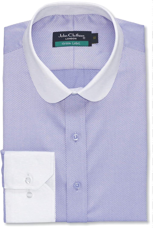 WhitePilotShirts Camisa para Hombre con Cuello de penique, Redonda, Lila Oscuro, Diamante para Oficina, Club de Hombres 100-04: Amazon.es: Ropa y accesorios