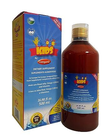 Ceregumil Kids Algae Omega 3 DHA Liquid Daily Multivitamin w/Vitamins C D3 B6 Cyanocobalamin