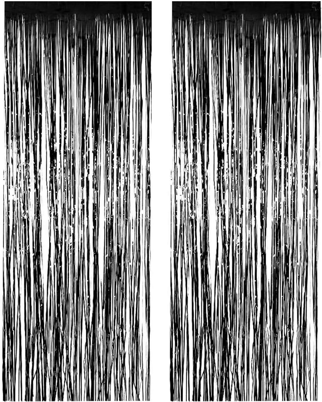 1 X 3/' x 8/' Black Tinsel Foil Fringe Door Window Curtain Party Decoration