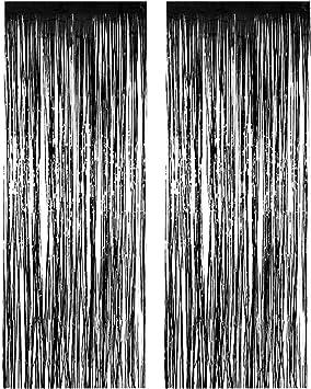 Black Metallic Foil Fringe Door /& Window Curtain Party Decoration 3/' X 8/'