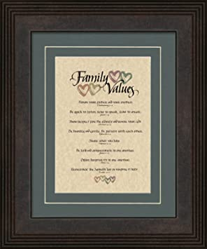 Family Values Matted Wood Framed Poem Christian Inspirational Gift With Wall Hangers
