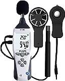 Tester multifunzione ambiente per misura di temperatura, umidità, suono, illuminazione, vento - Express Panda® professionale 5-in-1 Anemometro, termometro, Flux Meter (Misuratore di illuminamento), fonometro, misuratore di umidità