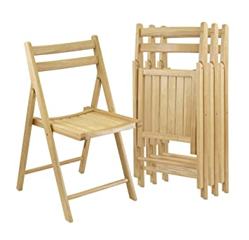 Amazoncom Winsome Wood Folding Chairs Natural Finish Set Of - Collapsible chairs