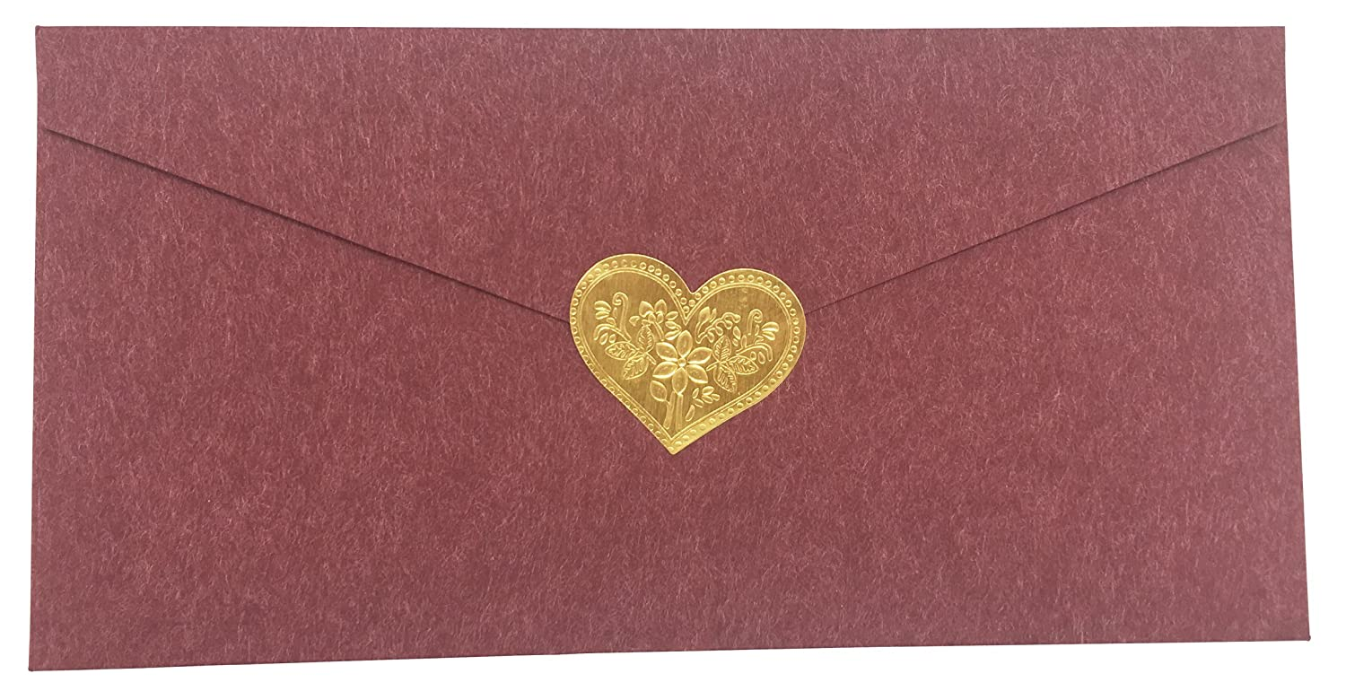Gold Envelopes Label Stickers Love Heart Shape Stickers 60 PCS Kraft Paper Thank You Stickers Retro Metallic DIY Decorative Adhesive Label for Packaging Bake Decoration Wedding Party Gift