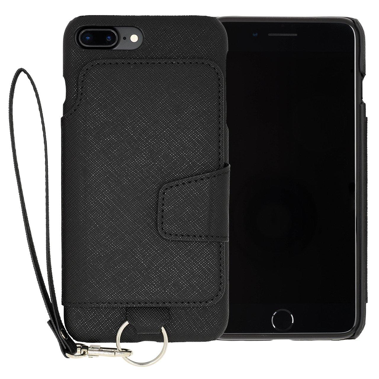 RAKUNI Light PU Leather Case Book Type with Strap for iPhone 7 Plus / iPhone 8 Plus (ブラック) PUレザー スタンド機能 カードケース カバー ストラップホール付き RCB-7P-BK