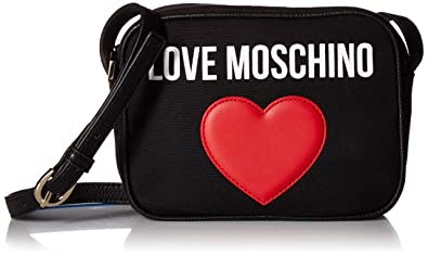 31ea9901b0f Love Moschino Borsa Canvas E Pebble Pu, Women's Cross-Body Bag, Black (