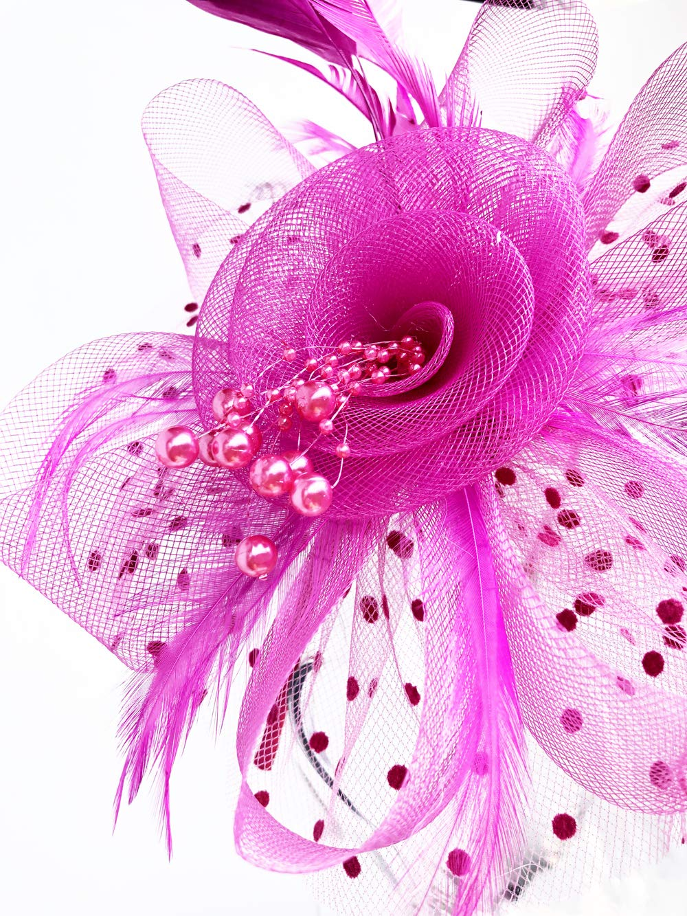 Flower Cocktail Tea Party Headwear Feather Fascinators Top Hat for Girls and Women (Fushia) by Kathyclassic (Image #5)