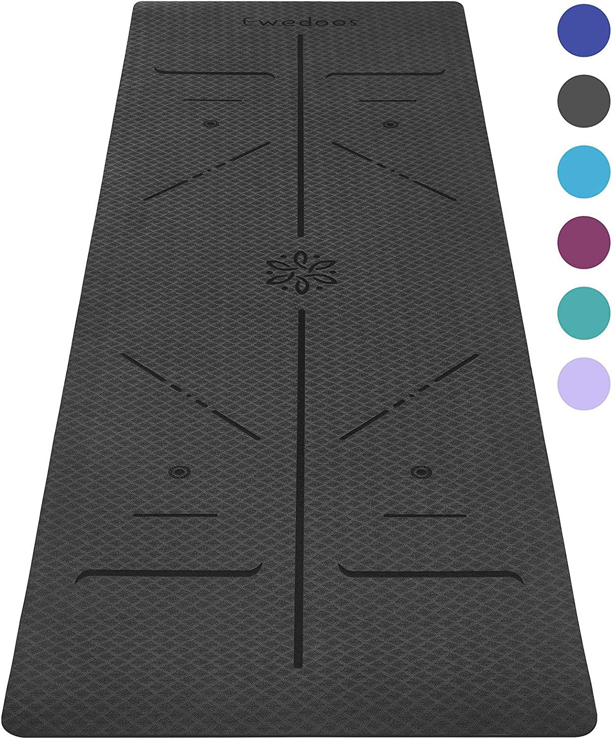 Pilates and Fitness TPE Yoga Mat Non Slip Textured Surfaces /¼-Inch Thick High Density Padding to Avoid Sore Knees Perfect for Yoga Ewedoos Eco Friendly Yoga Mat with Alignment Lines
