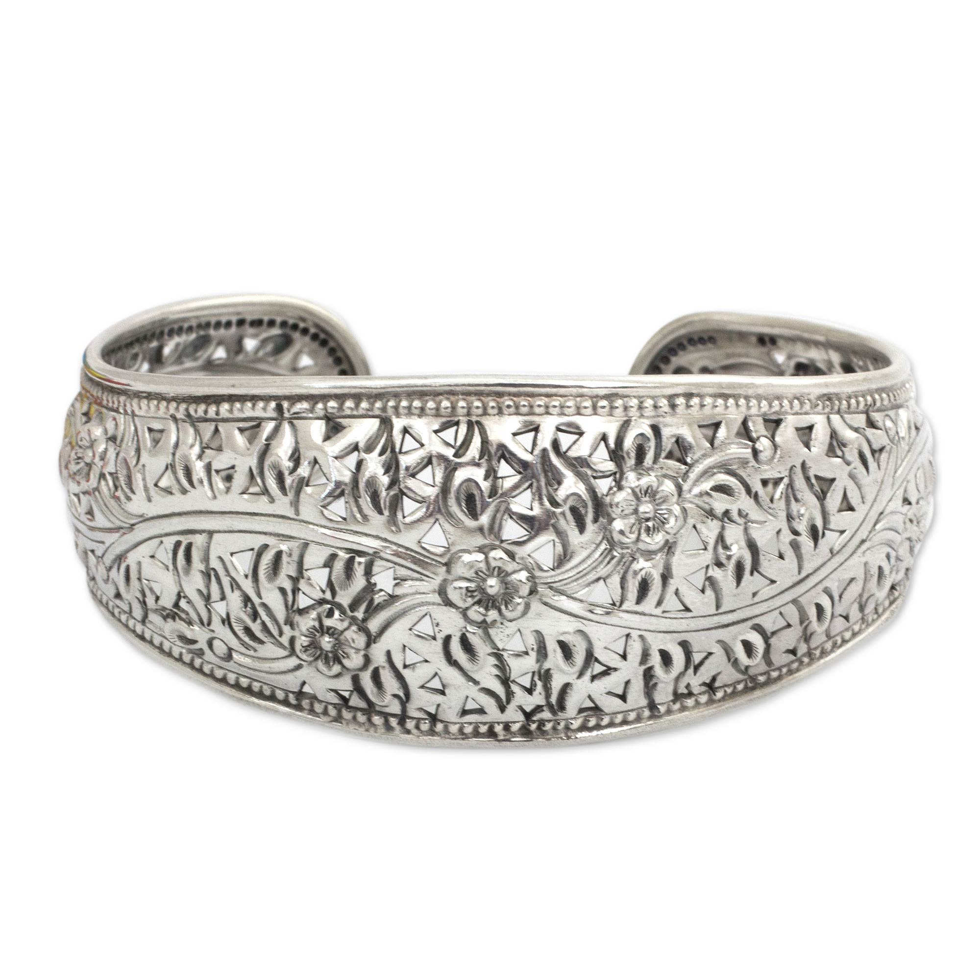 NOVICA Handmade Floral 925 Sterling Silver Cuff Bracelet, 6.5'', 'Sweet Jasmine'