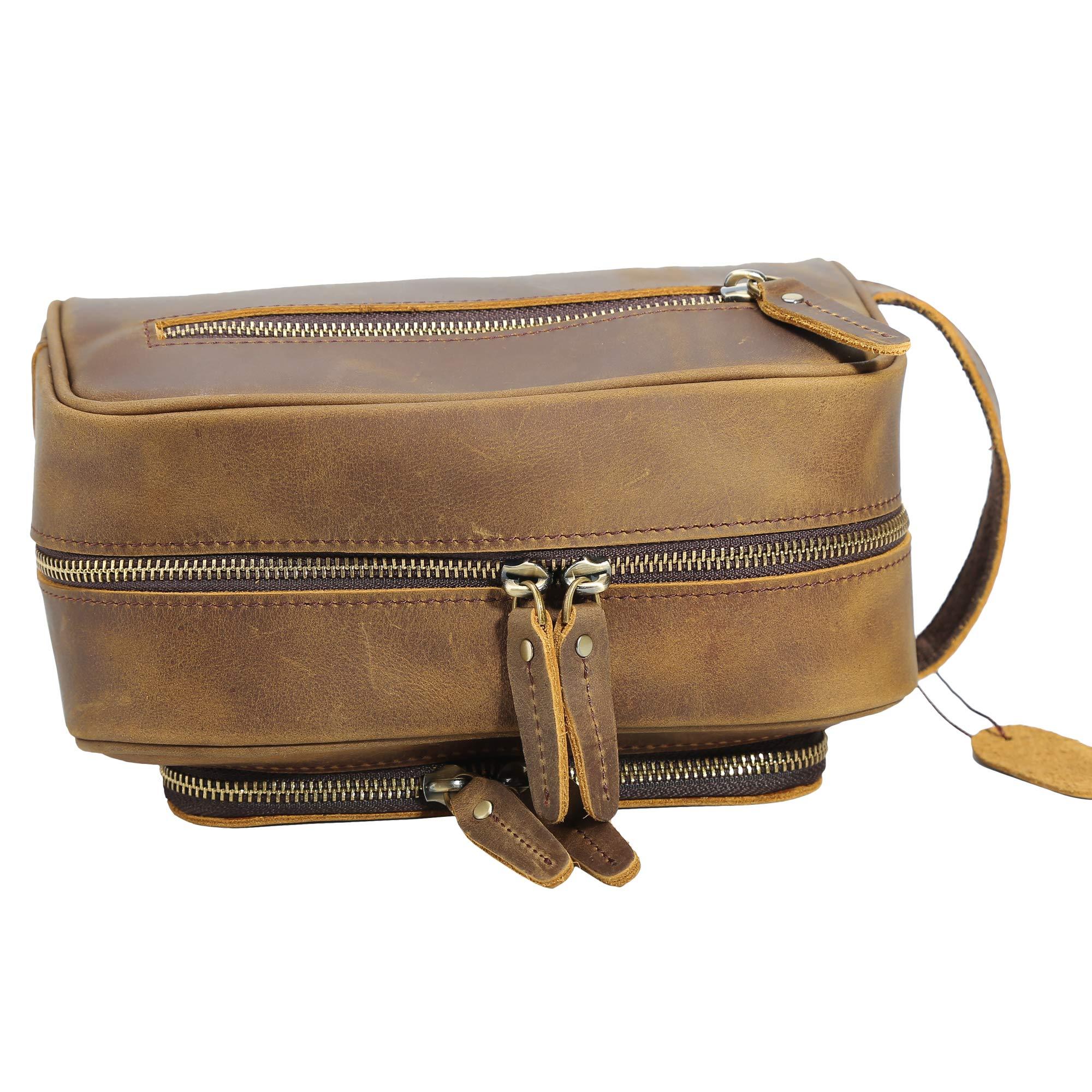 Polare Vintage Full Grain Leather Handmade Travel Toiletry Bag for Men - Dopp Kit - Shaving Kit by POLARE ORIGINAL (Image #8)